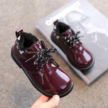 Girls Lace-up Front Plush Inside Flats