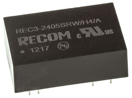 Recom REC3 3W Isolated DC-DC Converter Through Hole, Voltage in 18 → 36 V dc, Voltage out 5V dc Medical Approved
