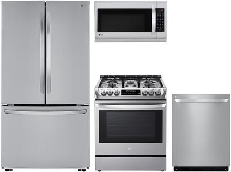4 Piece Kitchen Appliances Package with LFCC22426S 36 French Door Refrigerator  LSG4511ST 30 Slide-in Gas Range  LMH2235ST 30 Over the Range