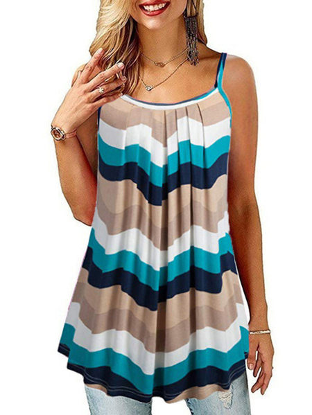 Yoins Pleated Design Round Neck Sleeveless Cami