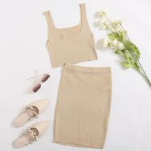 Solid Rib-knit Crop Cami Top And Skirt Set