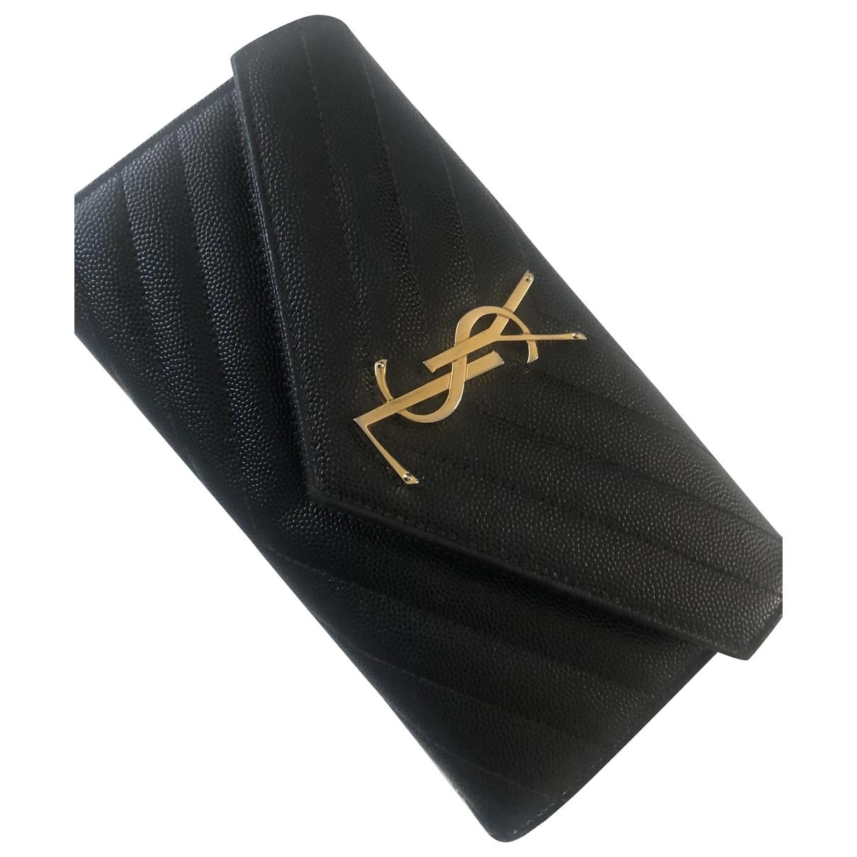 Saint Laurent - Portefeuille Monogramme pour femme en cuir - noir
