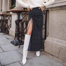 Polka Dot Drawstring Ruched Split Thigh Skirt