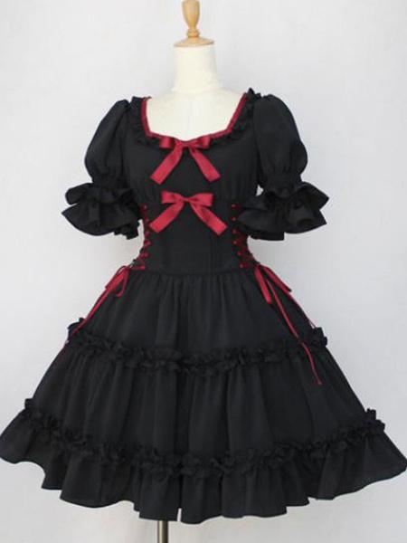 Milanoo Vestido clasico de Lolita OP Volantes Mangas cortas negras Vestidos de una pieza de Lolita