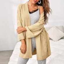 Solid Belted Cable Knit Robe