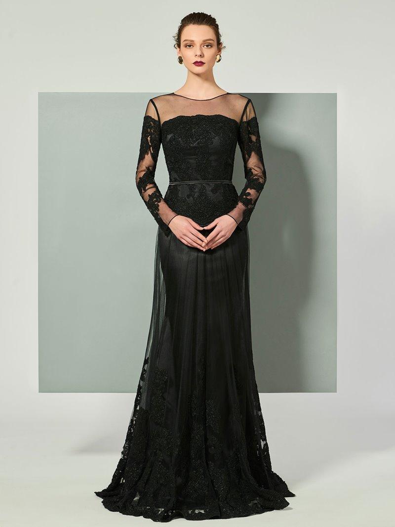 Ericdress Sheath Long Sleeve Applique Floor Length Evening Dress