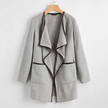 Waterfall Collar Pocket Front Coat
