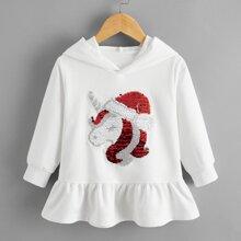 Hoodie mit Weihnachten Einhorn Muster, Pailletten und Rueschen