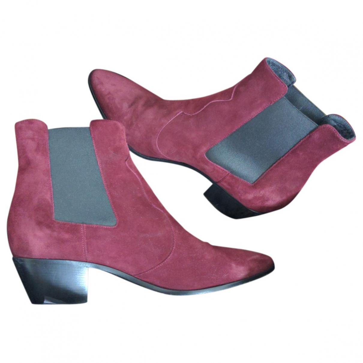Saint Laurent \N Burgundy Suede Boots for Women 40 EU
