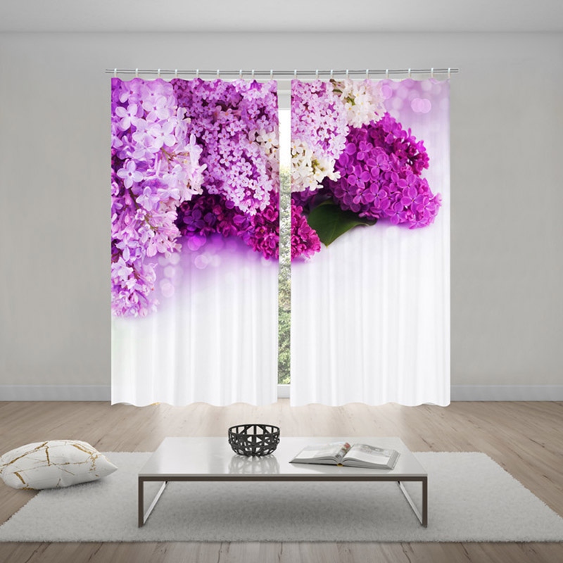 Pastoral Purple Flowers Blackout Window Curtains for Living Room Bedroom No Pilling No Fading No off-lining Blocks Out 80% of Light and 90% of UV Ray