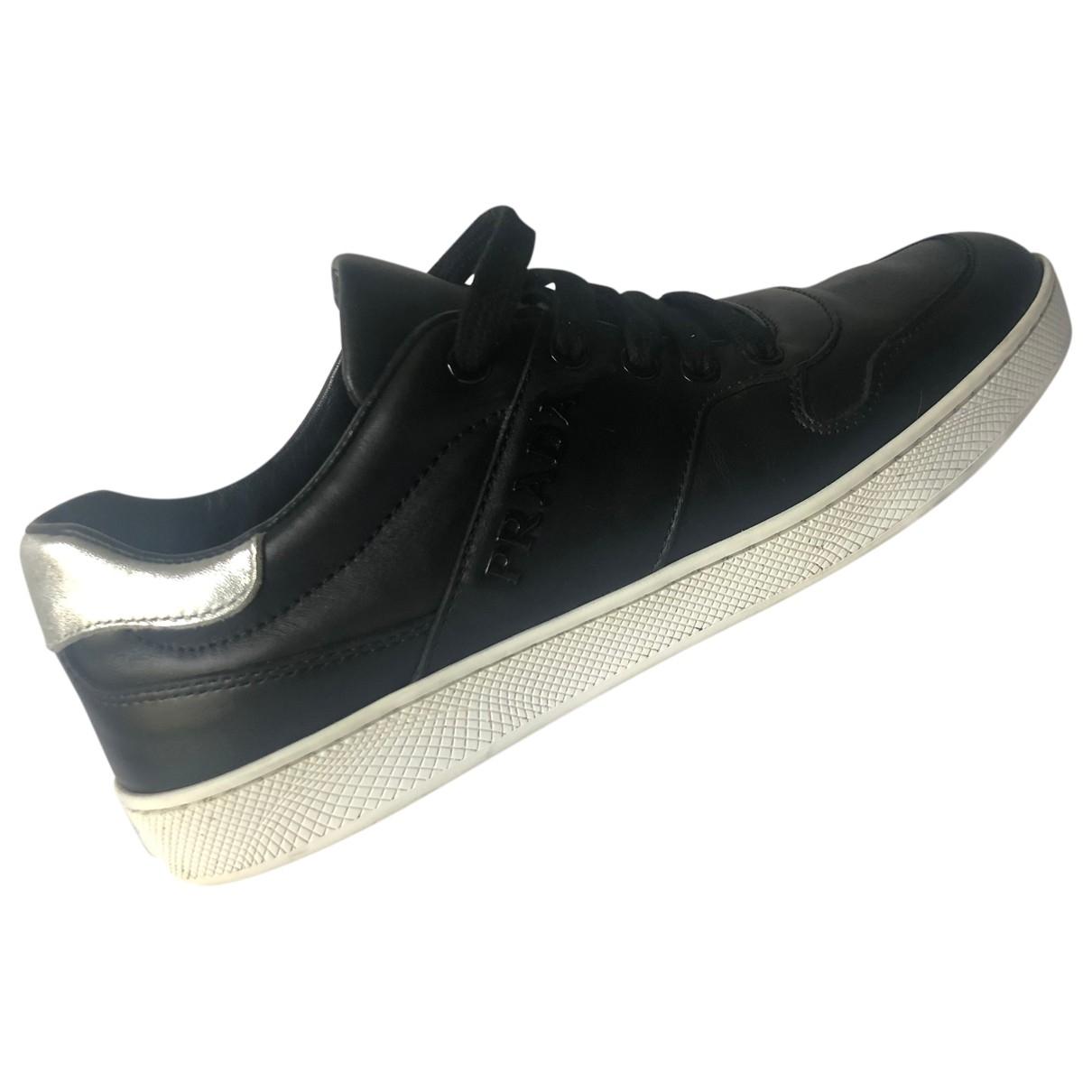 Prada \N Black Leather Trainers for Women 38 EU