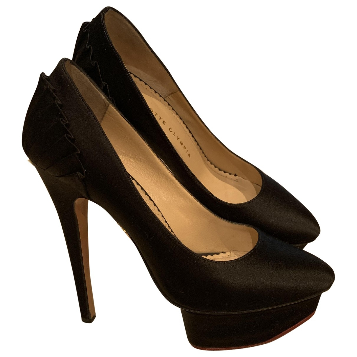 Charlotte Olympia Dolly Black Silk Heels for Women 36 EU