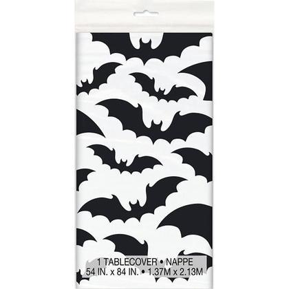 Nappe en plastique noire de Halloween pour la décoration de fête à la maison, 54 x 84 pouces 1pcs