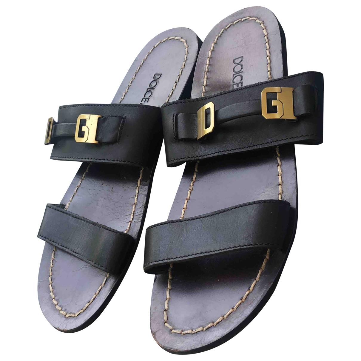 Dolce & Gabbana - Sandales   pour homme en cuir - noir