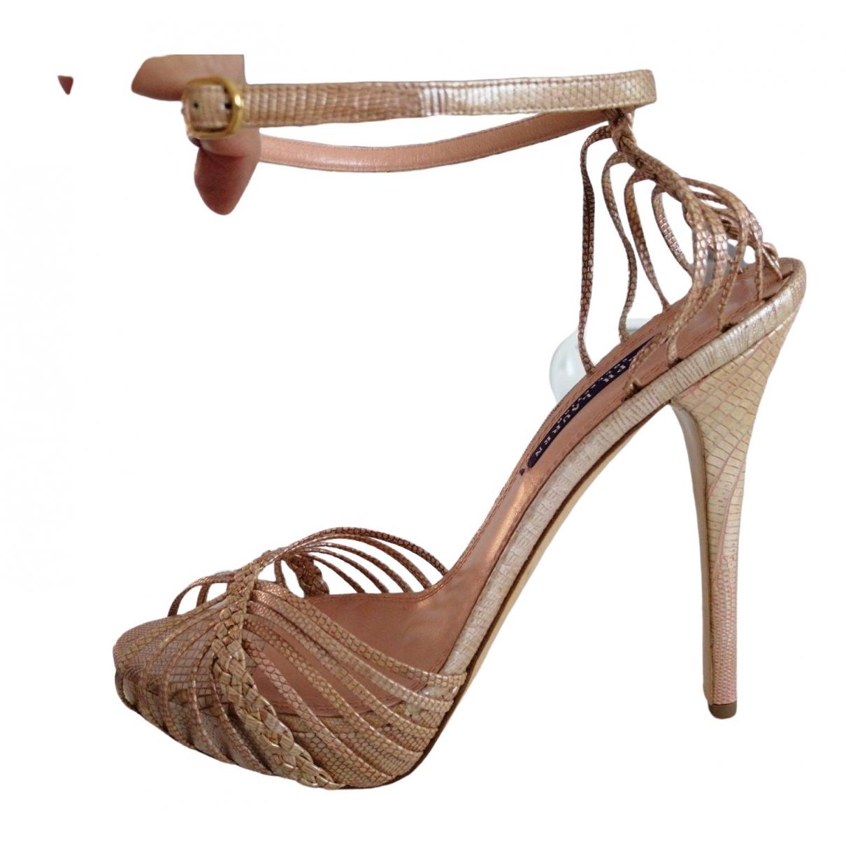 Ralph Lauren Collection \N Pink Lizard Sandals for Women 40.5 EU