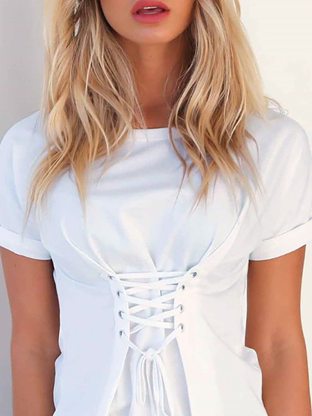 Yoins White Lace-up T-shirt