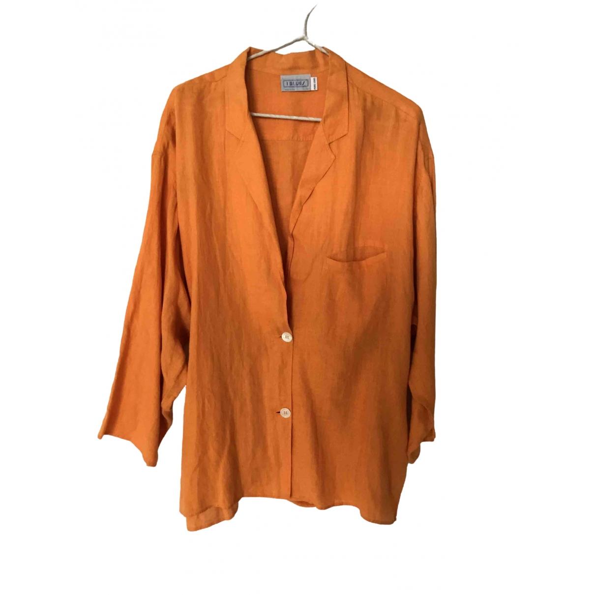 - Veste   pour femme en lin - orange