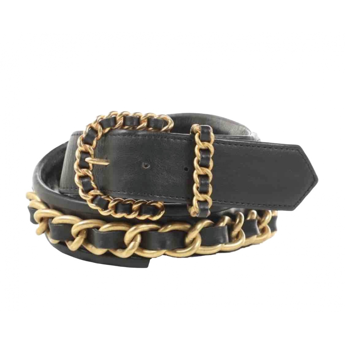 Chanel \N Black Leather belt for Women 75 cm