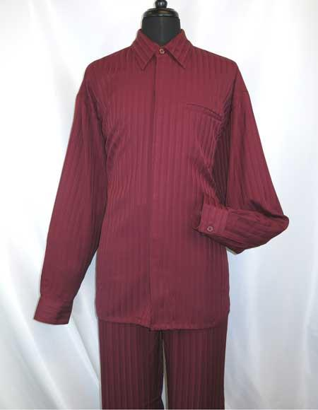 Mens Hidden Buttons Collared Long Sleeve Shirt and Pant Set Burgundy