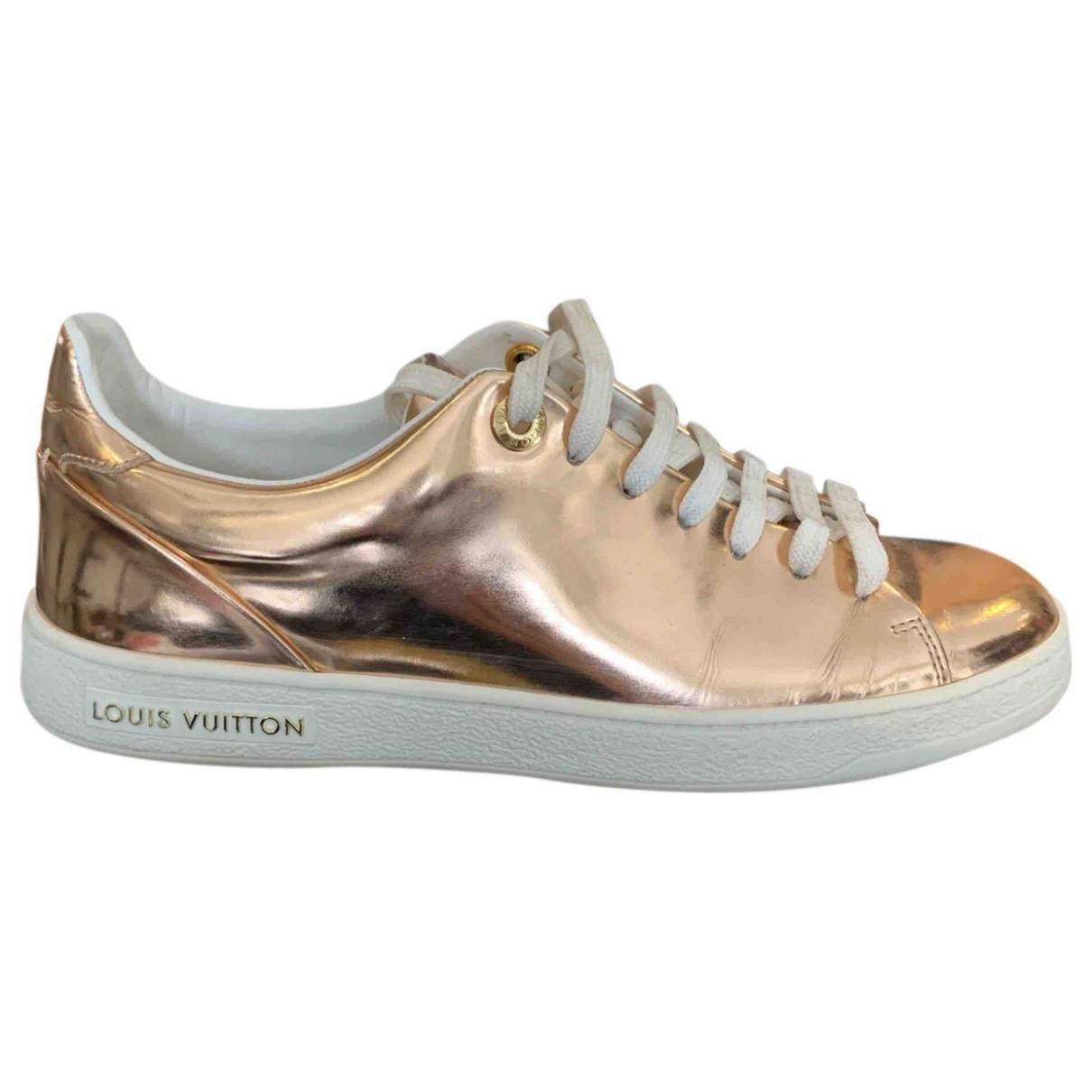 Louis Vuitton - Baskets FrontRow pour femme en cuir verni - metallise