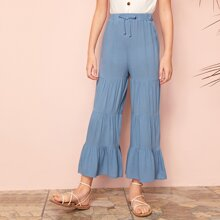 Girls Tie Waist Tiered Pants