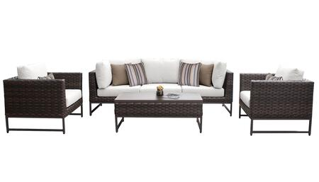 Barcelona BARCELONA-06r-BRN-WHITE 6-Piece Patio Set 06r with 2 Corner Chairs  1 Armless Chair  2 Club Chairs and 1 Coffee Table - Beige and Sail