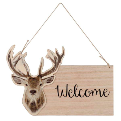 Plaque cerf WELCOME à susp 9.5X6