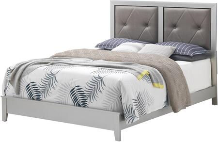 Primo Collection G1333A-FB Full Size Bed with Button Tufted Headboard  Faux Leather Upholstery  and Tapered Legs in