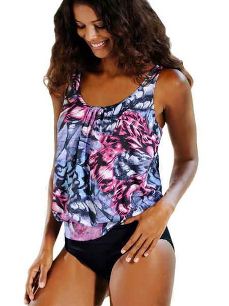 Milanoo Blue Tankini Swimsuit U Neck Sleeveless Floral Print Draped Two Piece Women's Bathing Suits
