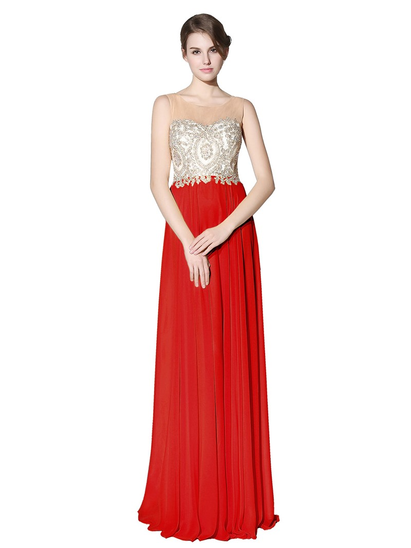 Ericdress A-Line Floor-Length Scoop Prom Dress