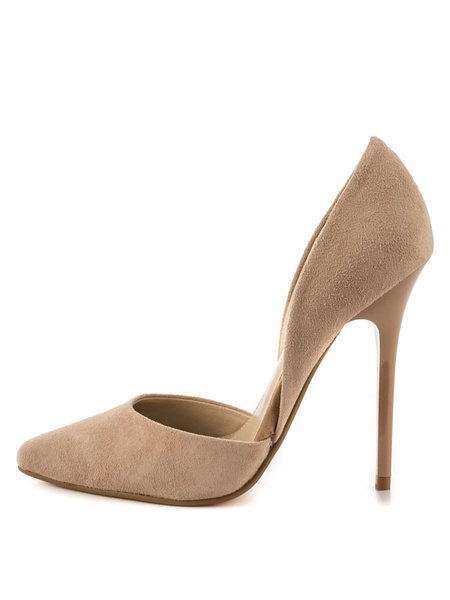 Milanoo Zapatos de vestir de mujer de tacon alto de color gris con tachuelas en punta
