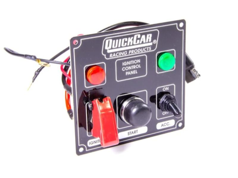 Quickcar Racing Products Black Plate, 2 Switches & 1 Button with Flip Cover & Lights