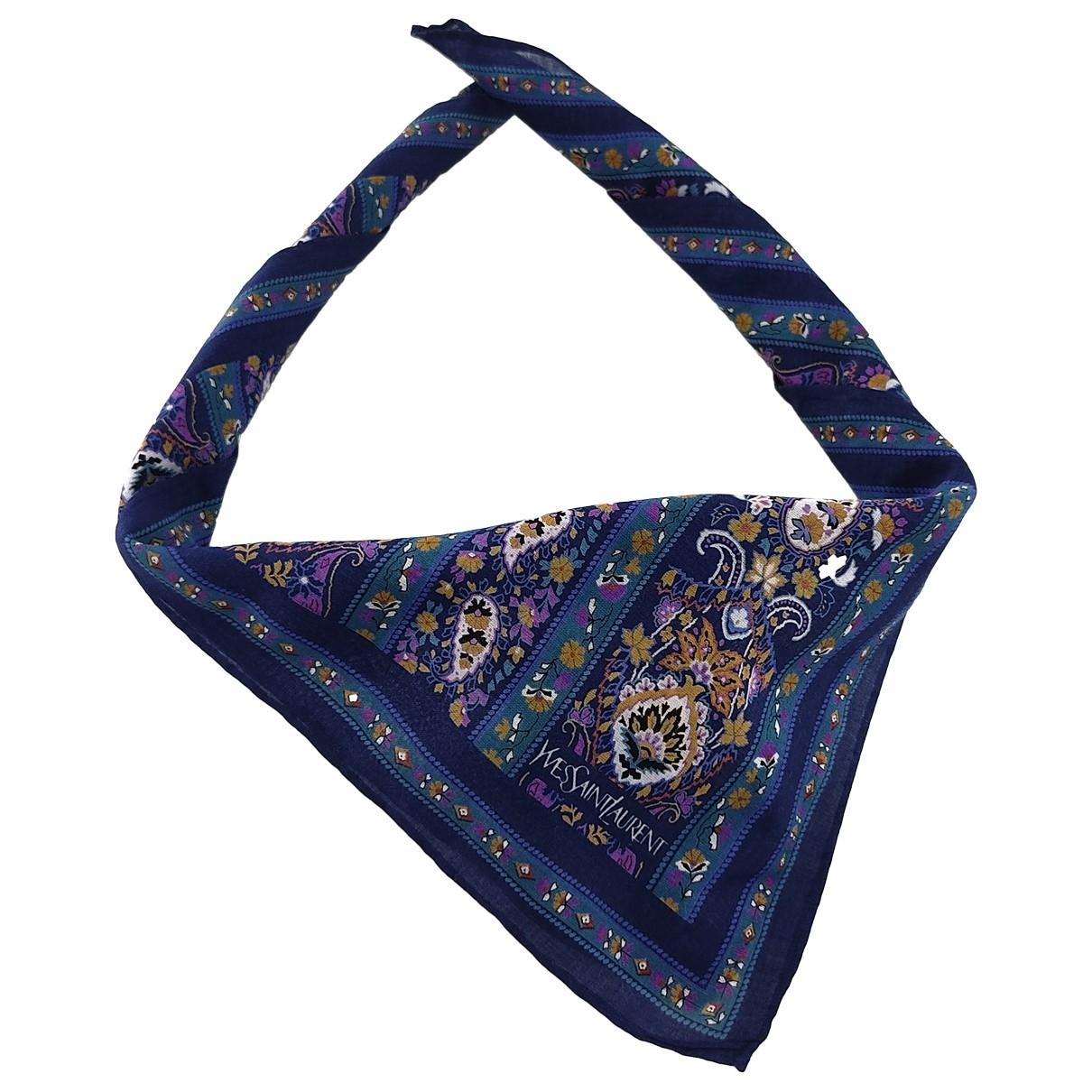 Yves Saint Laurent \N Blue Cotton scarf & pocket squares for Men \N