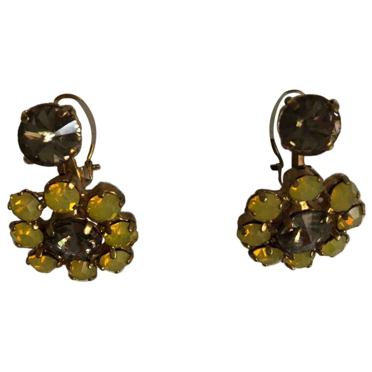 - Boucles doreilles Art Deco pour femme en metal - jaune