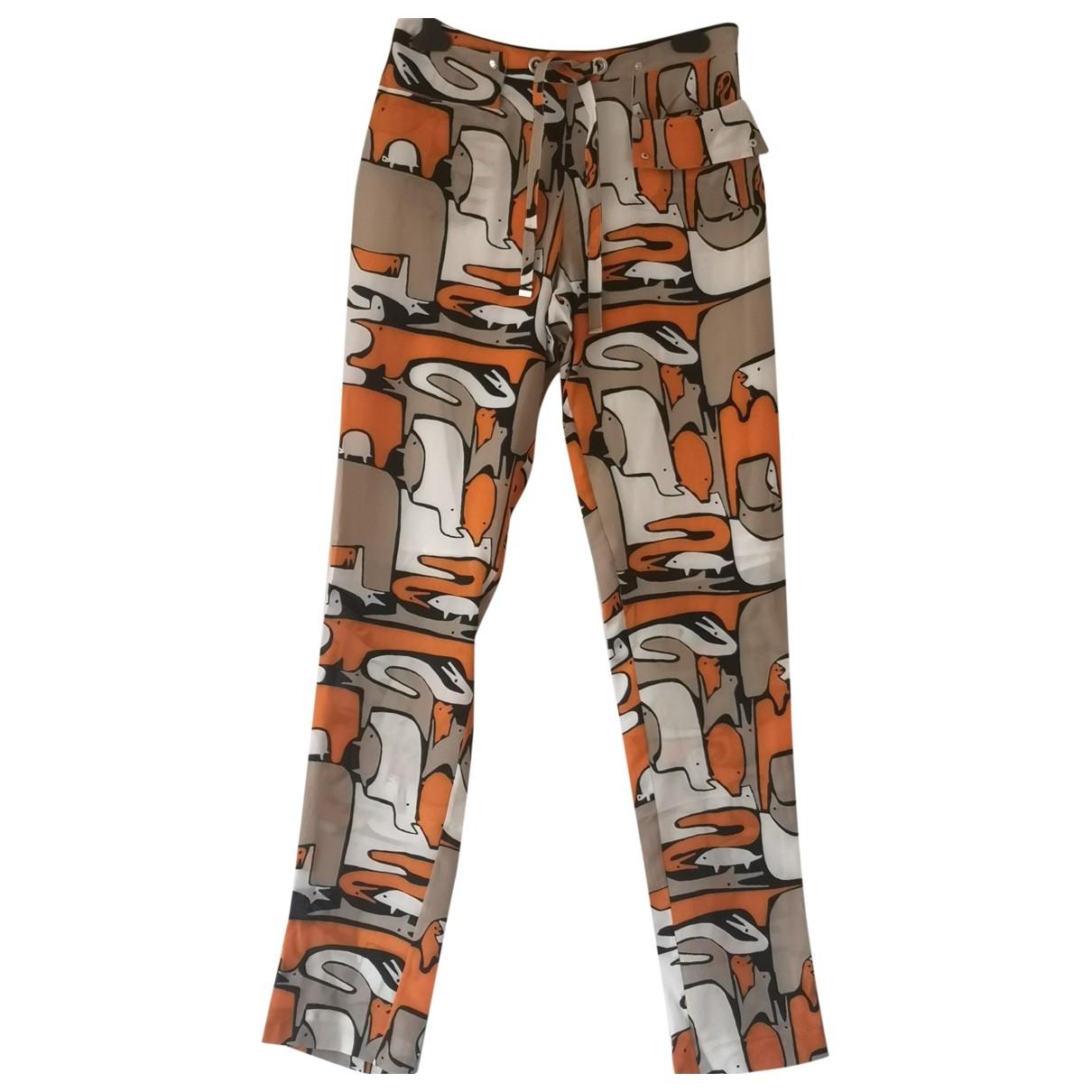 Jc De Castelbajac \N Orange Silk Trousers for Women 40 FR