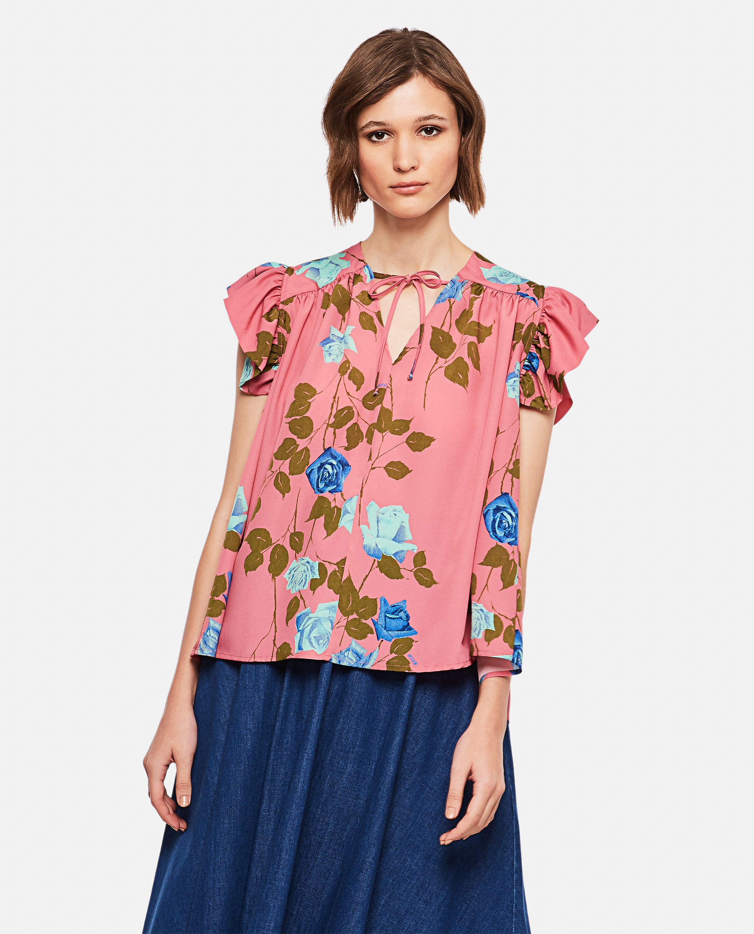 Blouse with pink print