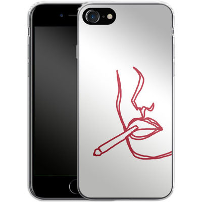 Apple iPhone 8 Silikon Handyhuelle - Cigarette Sketch von Lucy Bohr