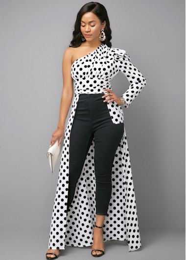 Women'S Black And White One Shoulder Maxi Formal Blouse Color Block Polka Dot Printed Skew Neck Long Sleeve Longline Sexy Club Top By Rosewe - 14