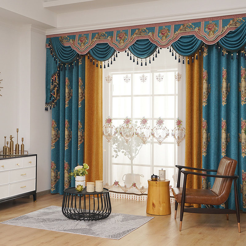 European Style Chenille Black Out 2 Panels Set Prevents UV Ray Machine Wash Accepted Curtains