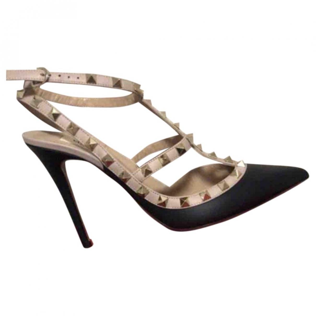Valentino Garavani Rockstud Black Pony-style calfskin Heels for Women 39 EU