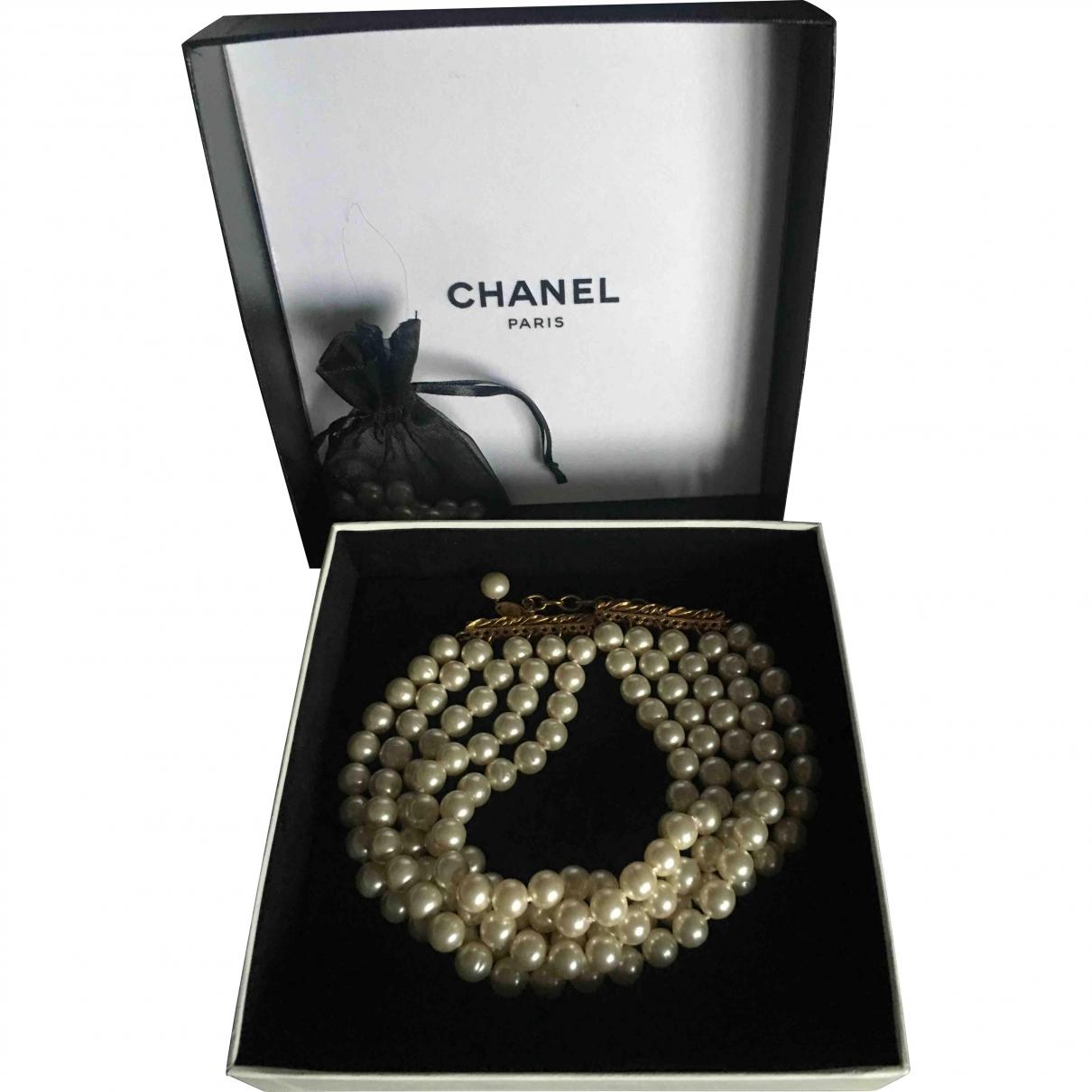 Chanel \N Kette in  Weiss Synthetik
