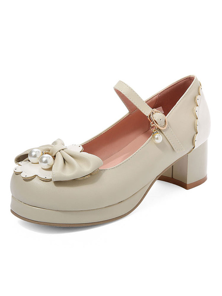 Milanoo Sweet Lolita Pump Pink Bows Pearl PU Leather Chunky Heel Lolita Shoes