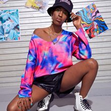 Drop Shoulder Tie Dye Oversize Sweater