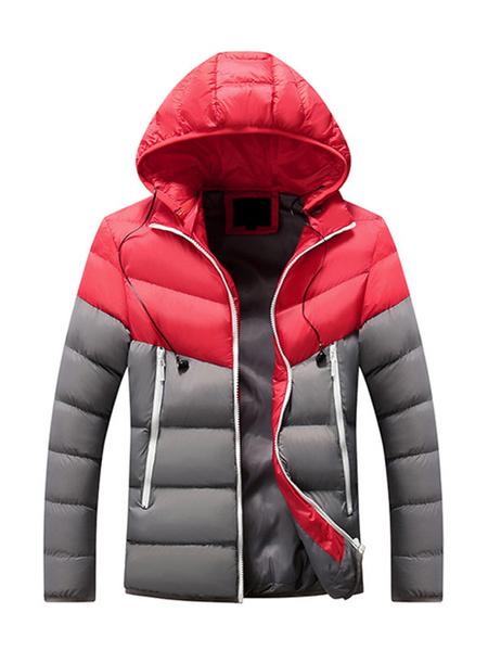 Milanoo Men\'s Parka Outdoor Hooded Coat With Pockets For Winter