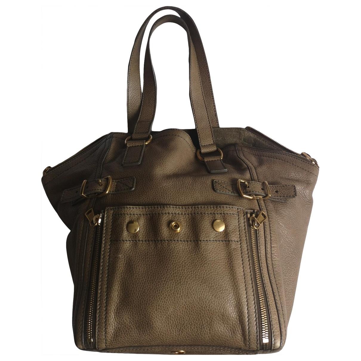 Yves Saint Laurent Downtown Green Leather handbag for Women \N