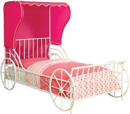 Charm Collection CM7715F Full Size Platform Bed with Carriage Style  Pink Fabric Wingback Tent  Full Metal Construction and Powder Coated in White