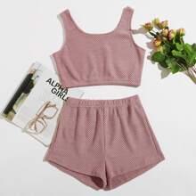 Einfarbiges texturiertes Crop Tank Top & Shorts Schlafanzug Set