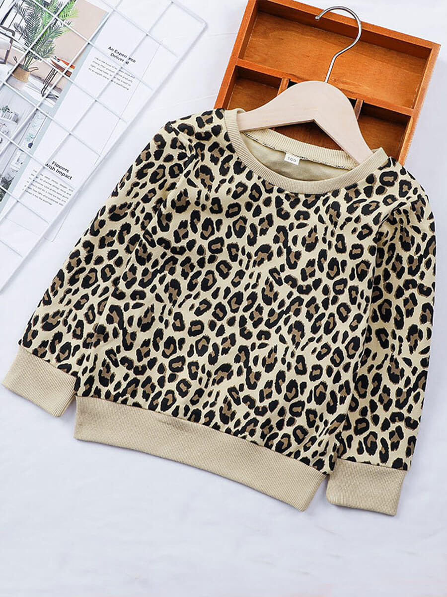 LW Lovely Casual O Neck Leopard Print Girl Hoodie