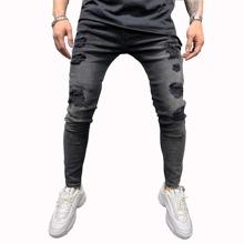 Einfarbige Skinny Jeans mit Riss