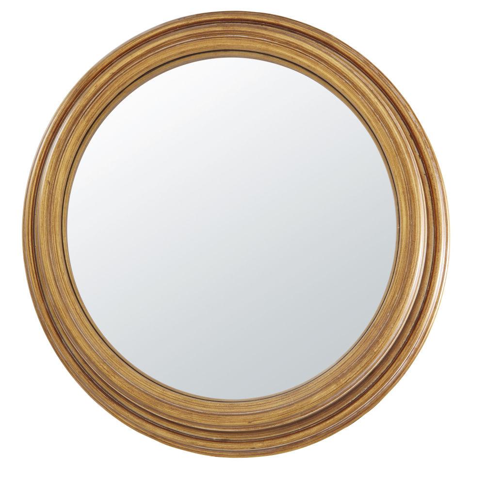 Spiegel, konvex mit Rahmen aus Paulownienholz und goldfarbenem Metall in Antikoptik D88